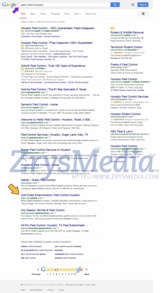 "We increased Gulf Coast Exterminators rank from page 8 to page 4 for keyword ""Pest Control Houston"""