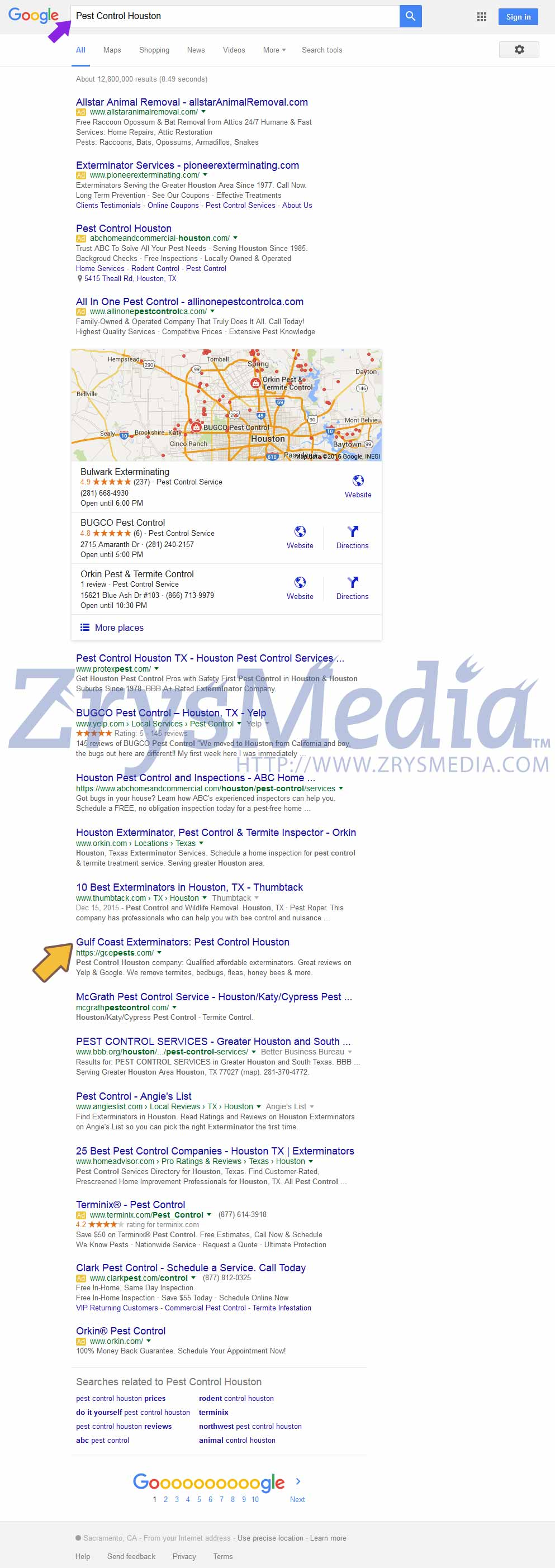 "Gulf Coast Exterminators Google First Page position for high traffic relevant keyword ""Pest Control Houston."" SEO is a never ending process & ZrysMedia works to keep your first page ranking."
