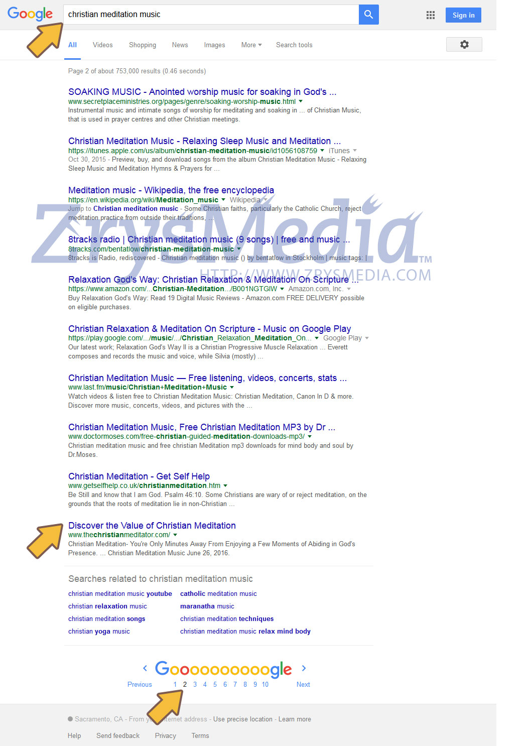 Our Client Rhonda was on page 4 before uploading and submitting our information Hub to Google later the same day