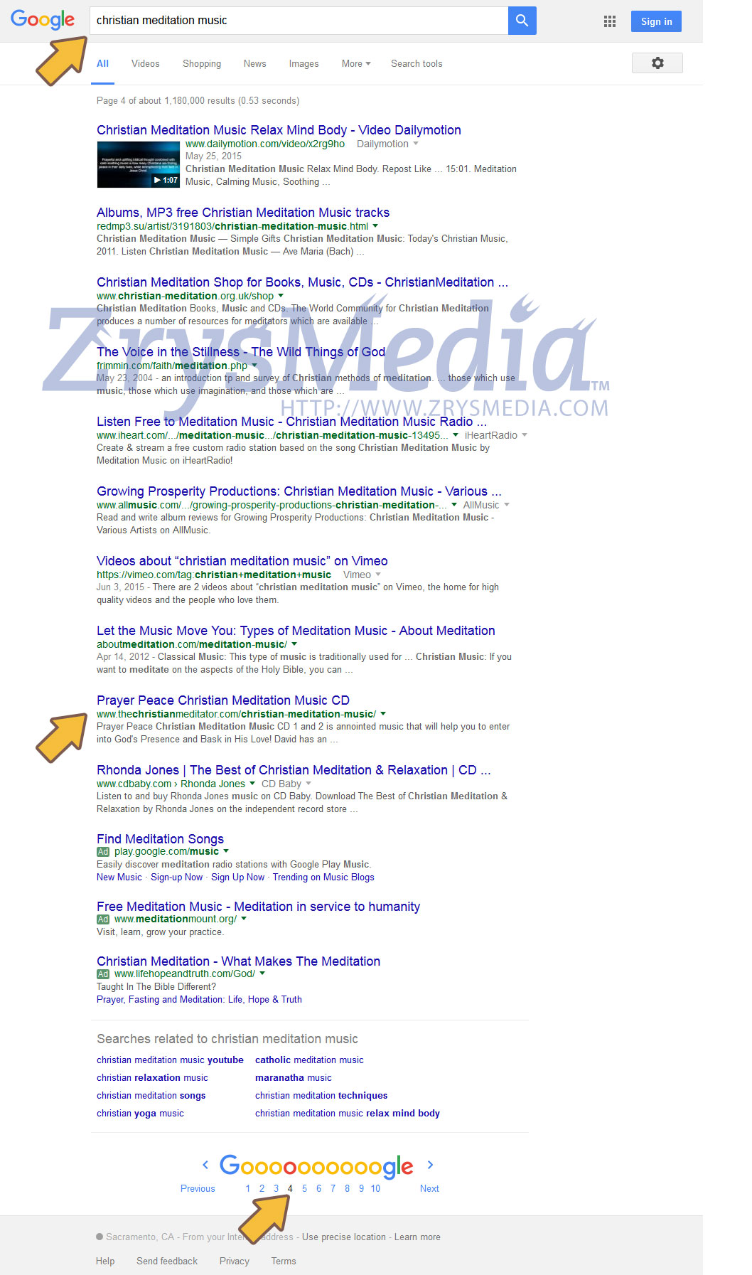 Our Client Rhonda on page 2 just 3 days later after uploading and submitting our information Hub to Google!
