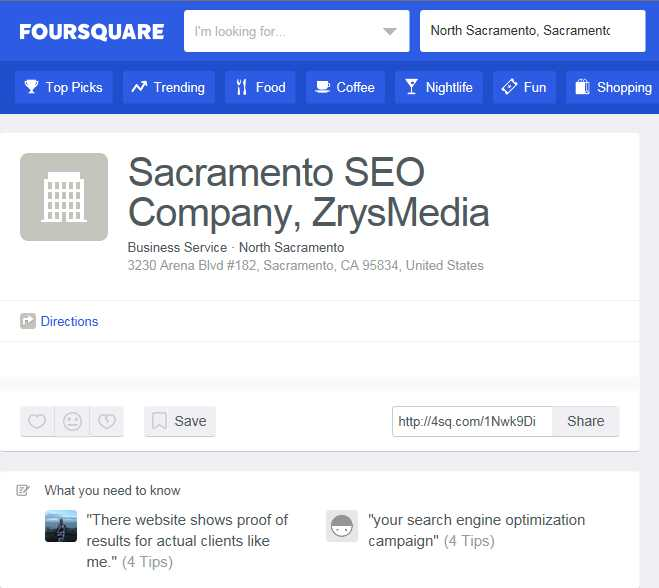 Great Foursquare Reviews for Sacramento SEO Company, ZrysMedia