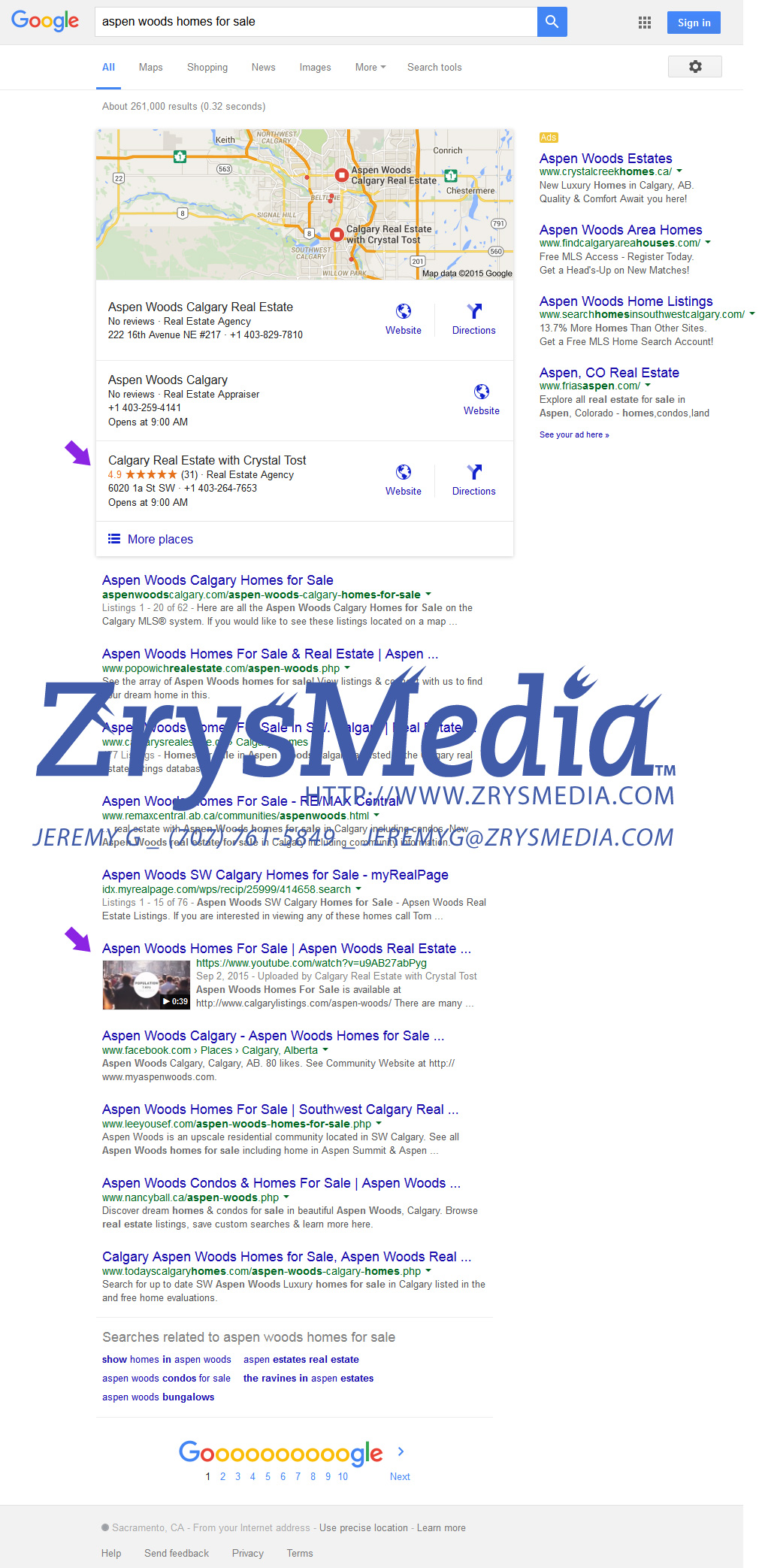 Our real estate client in the top 3 Google Business Local results and with video standing out from our Video SEO