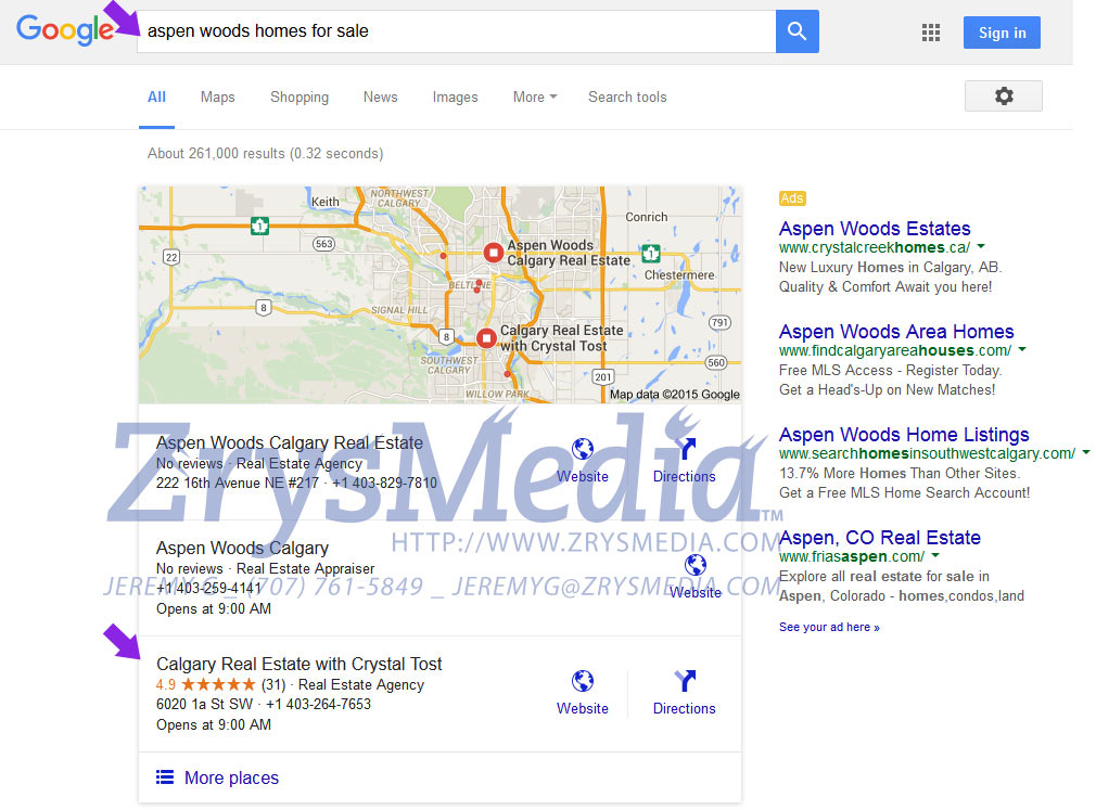 Top 3 Google Local For Our Real Estate SEO Client
