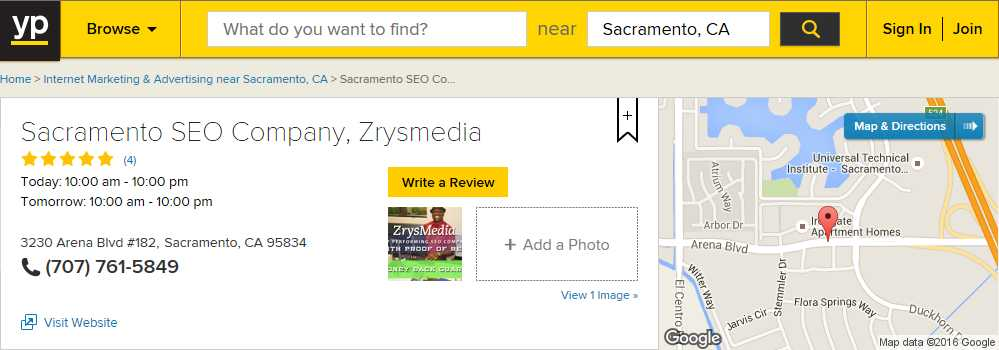 5-Star Yellowpages.com Reviews for Sacramento SEO Company, ZrysMedia